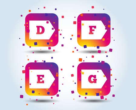 Icônes de classe d'efficacité énergétique. Symboles de signe de consommation d'énergie. Classe D, E, F et G. Boutons carrés dégradés de couleur. Concept de design plat. Vecteur