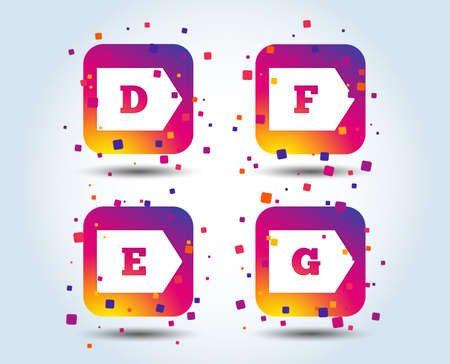 Energy efficiency class icons. Energy consumption sign symbols. Class D, E, F and G. Colour gradient square buttons. Flat design concept. Vector