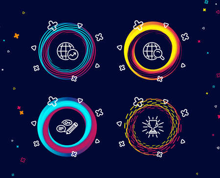 Set of Keywords, World statistics and Internet search icons. Trophy sign. Pencil with key, Global report, Web finder. Winner cup.  Circle banners with line icons. Gradient colors shapes. Vector