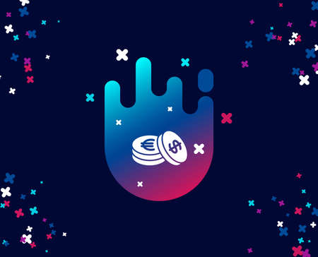 Coins money simple icon. Banking currency sign. Euro and Dollar Cash symbols. Cool banner with icon. Abstract shape with gradient. Vector