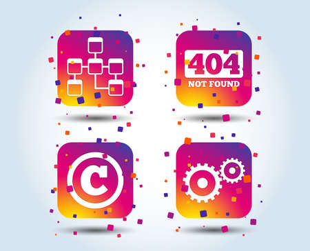 Website database icon. Copyrights and gear signs. 404 page not found symbol. Under construction. Colour gradient square buttons. Flat design concept. Vector Illusztráció