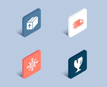 Set of Package, Truck delivery and Logistics network icons. Fragile package sign. Delivery pack, Express service, International tracking. Safe shipping.  3d isometric buttons. Flat design concept