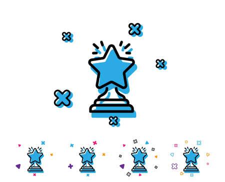 Rangsternsymbol. Erfolgsbelohnungssymbol. Bestes Ergebniszeichen. Gewinnerpokal. Liniensymbol mit geometrischen Elementen. Helles buntes Design. Vektor