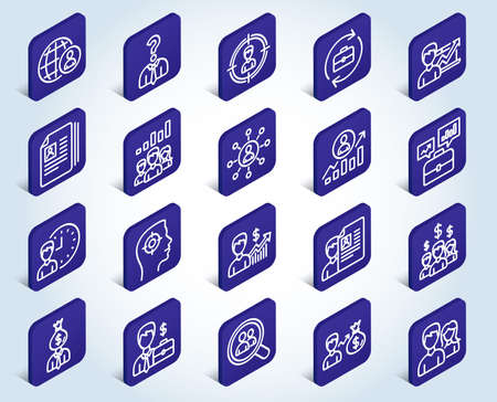 Human Resources line icons. Set of Business Networking, Job Interview and Head Hunting signs. CV, Teamwork and Portfolio symbols. Flat design isometric buttons. 3d design concept. Vector