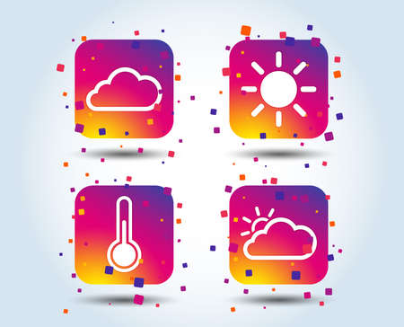 Weather icons. Cloud and sun signs. Thermometer temperature symbol. Colour gradient square buttons. Flat design concept. Vector 일러스트