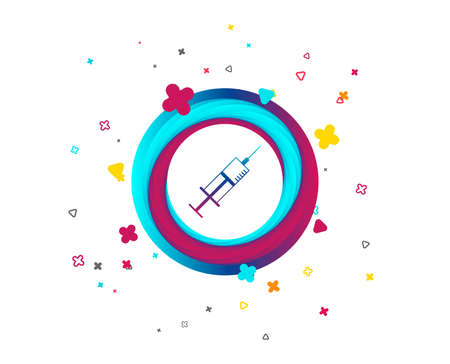 Syringe sign icon. Medicine symbol. Colorful button with icon. Geometric elements. Vector Illustration