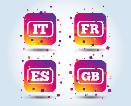 Language icons. IT, ES, FR and GB translation symbols. Italy, Spain, France and England languages. Colour gradient square buttons. Flat design concept. Vector