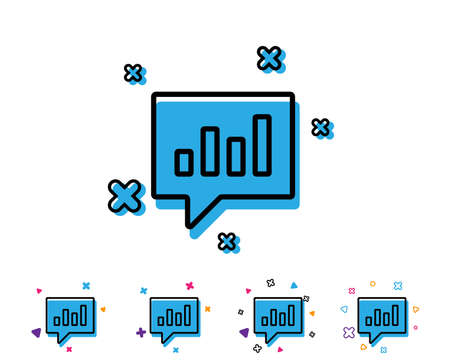 Chart line icon. Report graph or Sales growth sign in speech bubble. Analysis and Statistics data symbol. Line icon with geometric elements. Bright colourful design. Vector