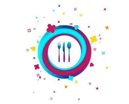 Fork, knife, tablespoon sign icon. Cutlery collection set symbol. Colorful button with icon. Geometric elements. Vector Illustration