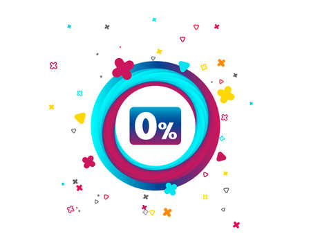 Zero percent sign icon. Zero credit symbol. Best offer. Colorful button with icon. Geometric elements. Vector 向量圖像