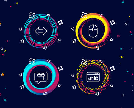 Set of Computer mouse, Sync and Wish list icons. Web traffic sign. Pc equipment, Synchronize, Present box. Website window.  Circle banners with line icons. Gradient colors shapes. Vector