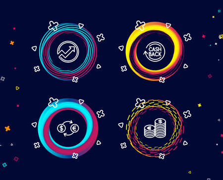 Set of Currency exchange, Audit and Cashback icons. Currency sign. Banking finance, Arrow graph, Refund commission. Euro and usd.  Circle banners with line icons. Gradient colors shapes. Vector Illusztráció