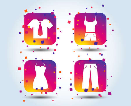 Clothes icons. T-shirt with business tie and pants signs. Women dress symbol. Colour gradient square buttons. Flat design concept. Vector Illustration