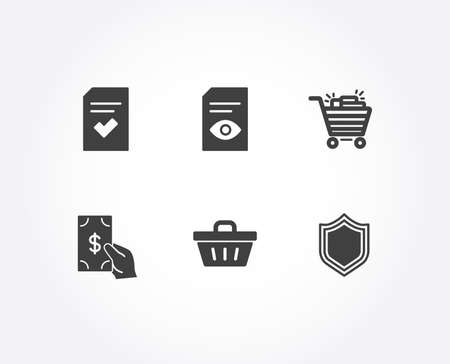 Set of View document, Checked file and Shopping basket icons. Receive money, Shopping cart and Security signs. Open file, Correct document, Sale offer. Cash payment, Gifts, Protection shield. Vector Illustration