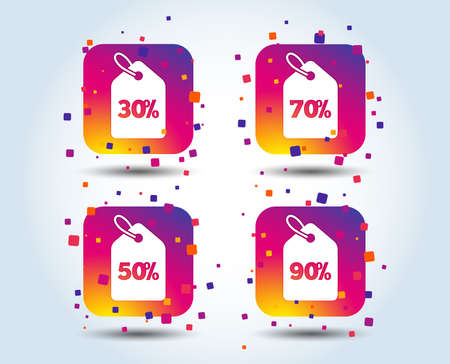 Sale price tag icons. Discount special offer symbols. 30%, 50%, 70% and 90% percent discount signs. Colour gradient square buttons. Flat design concept. Vector