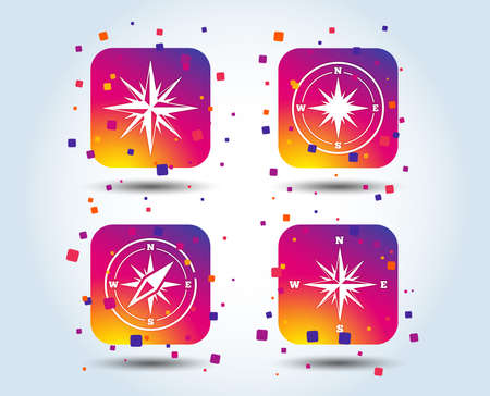 Windrose navigation icons. Compass symbols. Coordinate system sign. Colour gradient square buttons. Flat design concept. Vector Vettoriali