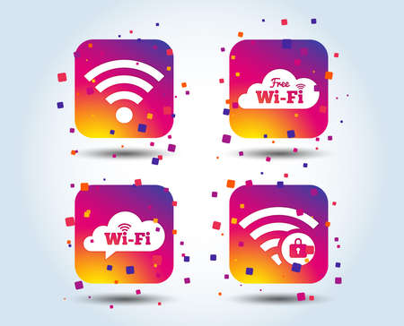Free Wifi Wireless Network cloud speech bubble icons. Wi-fi zone locked symbols. Password protected Wi-fi sign. Colour gradient square buttons. Flat design concept. Vector Stock Vector - 106441533