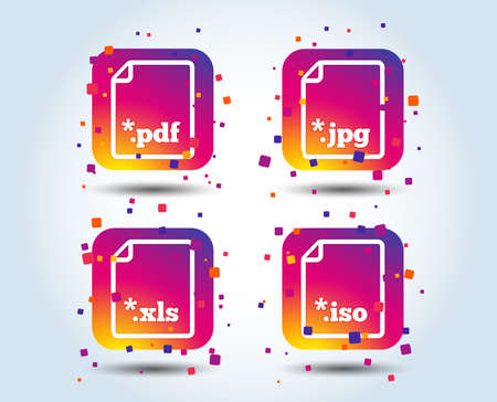 Download document icons. File extensions symbols. PDF, XLS, JPG and ISO virtual drive signs. Colour gradient square buttons. Flat design concept. Vector