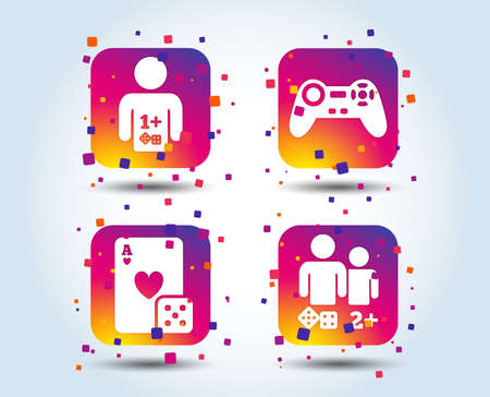 Gamer icons. Board games players signs. Video game joystick symbol. Casino playing card. Colour gradient square buttons. Flat design concept. Vector Foto de archivo - 106481269