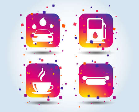 Petrol or Gas station services icons. Automated car wash signs. Hotdog sandwich and hot coffee cup symbols. Colour gradient square buttons. Flat design concept. Vector