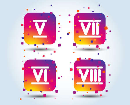 Roman numeral icons. 5, 6, 7 and 8 digit characters. Ancient Rome numeric system. Colour gradient square buttons. Flat design concept. Vector