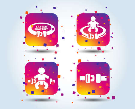 Fasten seat belt icons. Child safety in accident symbols. Vehicle safety belt signs. Colour gradient square buttons. Flat design concept. Vector Banque d'images - 111102742