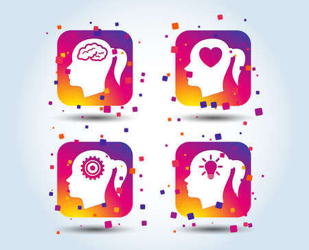 Head with brain and idea lamp bulb icons. Female woman think symbols. Cogwheel gears signs. Love heart. Colour gradient square buttons. Flat design concept. Vector
