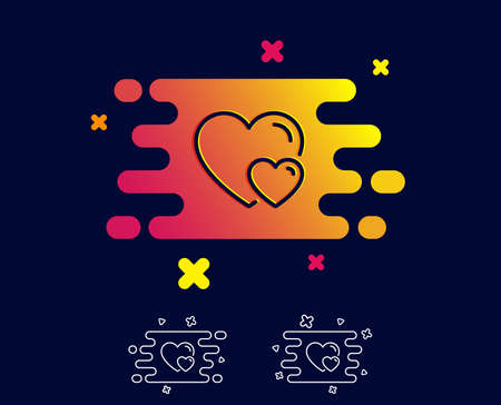 Couple Love line icon. Two Hearts sign. Valentines day symbol. Gradient banner with line icon. Abstract shape. Vector