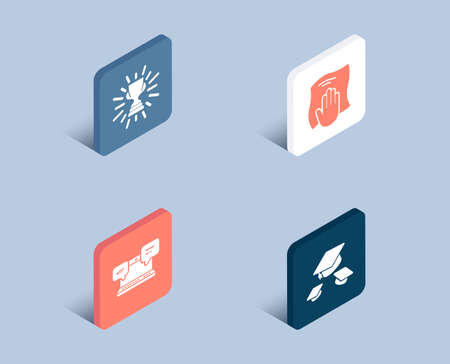 Set of Internet chat, Trophy and Washing cloth icons. Throw hats sign. Online communication, Winner cup, Wipe with a rag. College graduation.  3d isometric buttons. Flat design concept. Vector