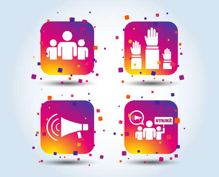 Strike group of people icon. Megaphone loudspeaker sign. Election or voting symbol. Hands raised up. Colour gradient square buttons. Flat design concept. Vector