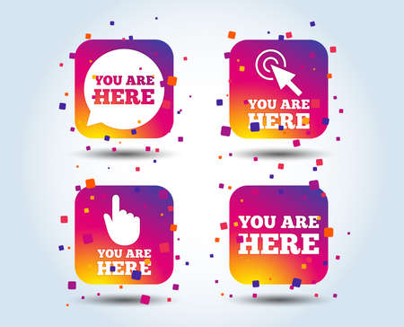 You are here icons. Info speech bubble symbol. Map pointer with your location sign. Hand cursor. Colour gradient square buttons. Flat design concept. Vector Illustration