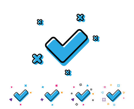 Check line icon. Approved Tick sign. Confirm, Done or Accept symbol. Line icon with geometric elements. Bright colourful design. Vector