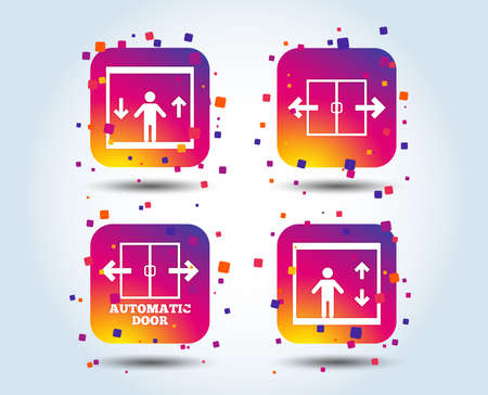 Automatic door icons. Elevator symbols. Auto open. Person symbol with up and down arrows. Colour gradient square buttons. Flat design concept. Vector