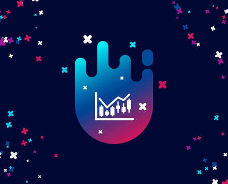 Candlestick chart simple icon. Financial graph sign. Stock exchange symbol. Business investment. Cool banner with icon. Abstract shape with gradient. Vector