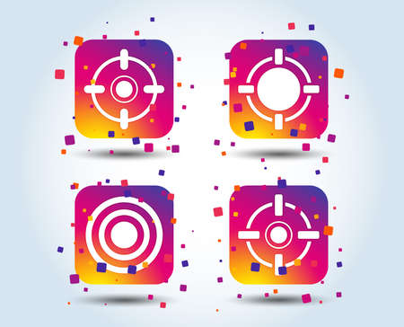 Crosshair icons. Target aim signs symbols. Weapon gun sights for shooting range. Colour gradient square buttons. Flat design concept. Vector