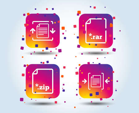 Archive file icons. Compressed zipped document signs. Data compression symbols. Colour gradient square buttons. Flat design concept. Vector 写真素材 - 111102761