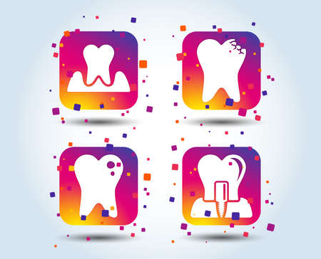 Dental care icons. Caries tooth sign. Tooth endosseous implant symbol. Parodontosis gingivitis sign. Colour gradient square buttons. Flat design concept. Vector