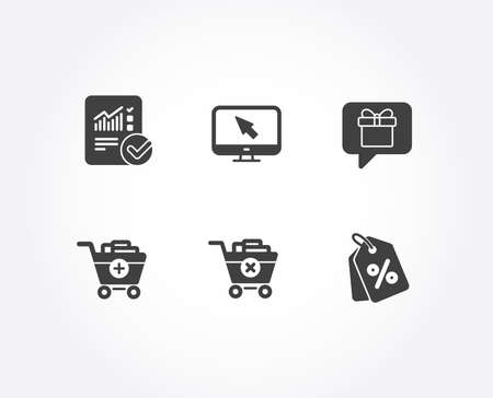 Set of Wish list, Add products and Internet icons. Checked calculation, Remove purchase and Discount tags signs. Present box, Shopping cart, Monitor with cursor. Vector