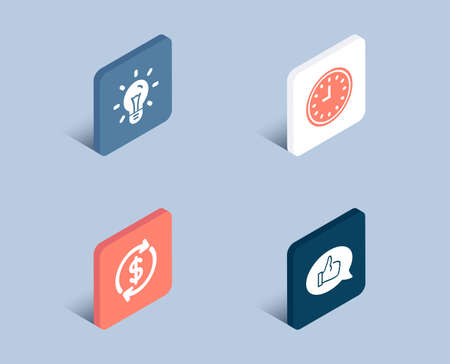 Set of Usd exchange, Idea and Clock icons. Feedback sign. Currency rate, Light bulb, Time or watch. Speech bubble.  3d isometric buttons. Flat design concept. Vector