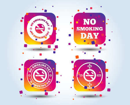 No smoking day icons. Against cigarettes signs. Quit or stop smoking symbols. Colour gradient square buttons. Flat design concept. Vector