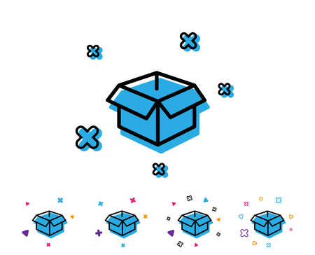 Opened box line icon. Logistics delivery sign. Parcels tracking symbol. Line icon with geometric elements. Bright colourful design. Vector  イラスト・ベクター素材
