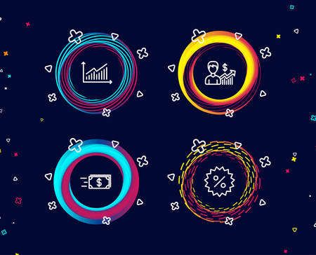 Set of Business growth, Money transfer and Graph icons. Discount sign. Earnings results, Cash delivery, Presentation diagram. Special offer.  Circle banners with line icons. Gradient colors shapes
