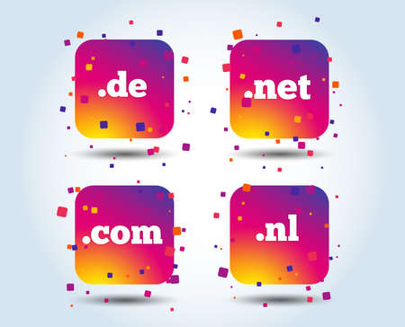 Top-level internet domain icons. De, Com, Net and Nl symbols. Unique national DNS names. Colour gradient square buttons. Flat design concept. Vector