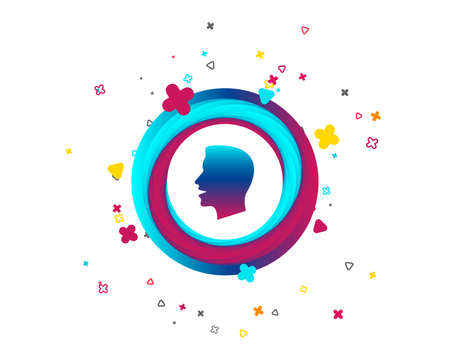 Talk or speak icon. Loud noise symbol. Human talking sign. Colorful button with icon. Geometric elements. Vector