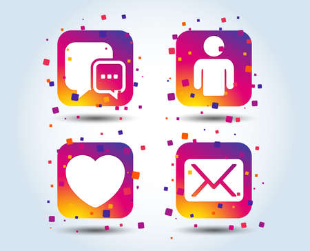 Social media icons. Chat speech bubble and Mail messages symbols. Love heart sign. Human person profile. Colour gradient square buttons. Flat design concept. Vector