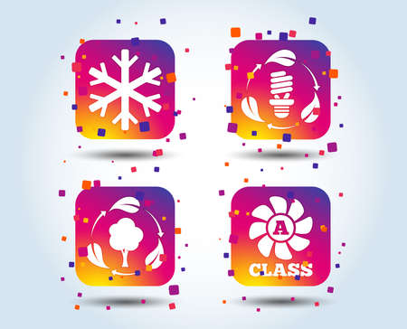 Fresh air icon. Forest tree with leaves sign. Fluorescent energy lamp bulb symbol. A-class ventilation. Air conditioning symbol. Colour gradient square buttons. Flat design concept. Vector Ilustracja
