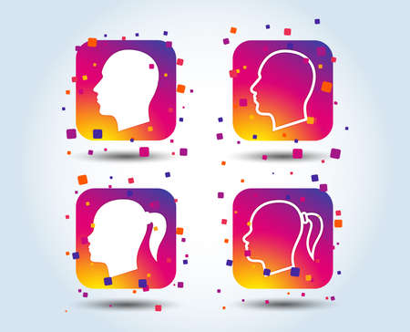 Head icons. Male and female human symbols. Woman with pigtail signs. Colour gradient square buttons. Flat design concept. Vector