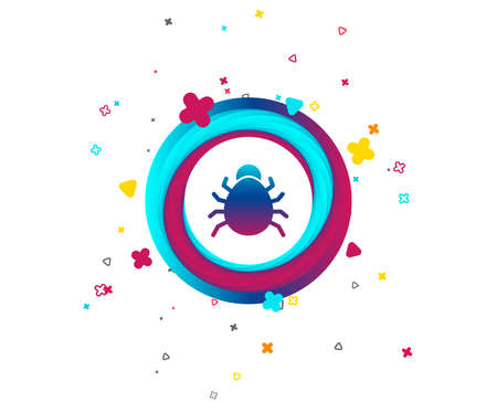 Bug sign icon. Virus symbol. Software bug error. Disinfection. Colorful button with icon. Geometric elements. Vector Illustration