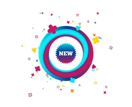 Nuevo icono de señal. Símbolo de estrella de nueva llegada. Botón colorido con icono. Elementos geométricos. Vector