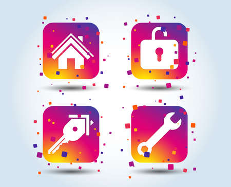 Home key icon. Wrench service tool symbol. Locker sign. Main page web navigation. Colour gradient square buttons. Flat design concept. Vector Stock Vector - 111102794